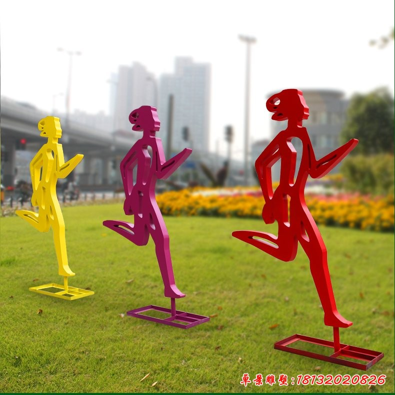 不銹鋼跑步人物剪影雕塑