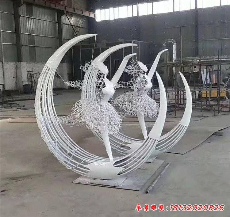 不銹鋼抽象芭蕾舞女孩雕塑