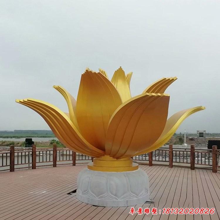 不銹鋼金色蓮花雕塑