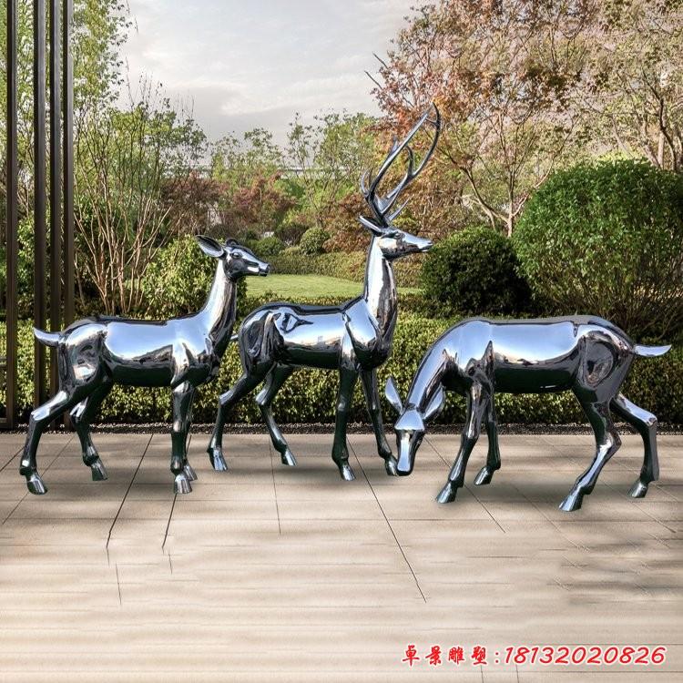 鏡面不銹鋼梅花鹿雕塑