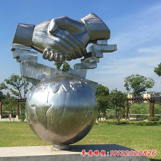 不銹鋼握手雕塑
