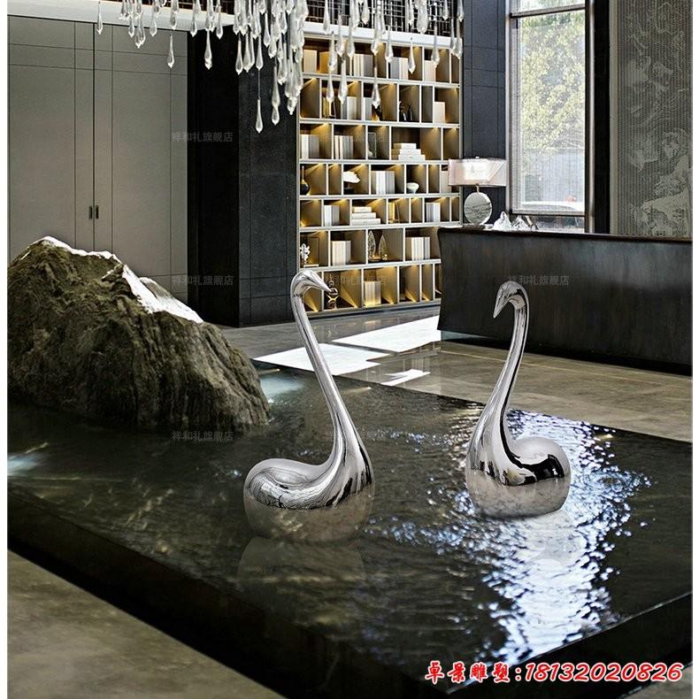 不銹鋼抽象天鵝雕塑