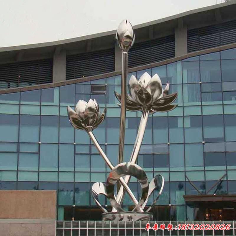 大型不銹鋼荷花雕塑