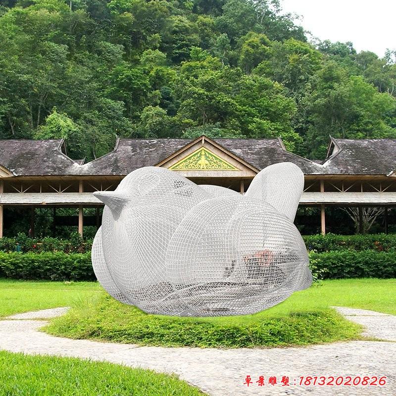 不銹鋼鏤空鳥雕塑