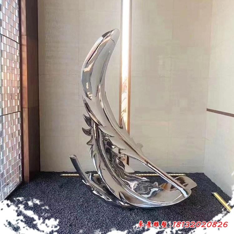 不銹鋼鏡面羽毛雕塑