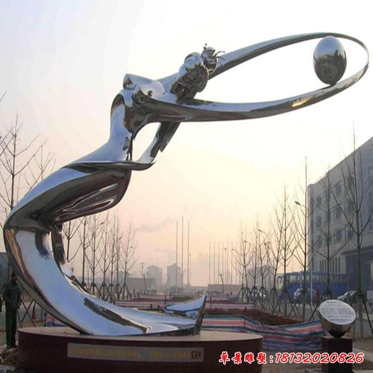 不銹鋼鏡面抽象仙女雕塑