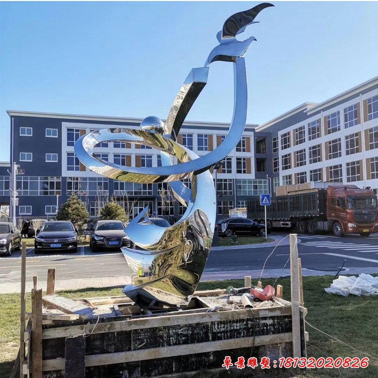 不銹鋼抽象人物和平鴿雕塑