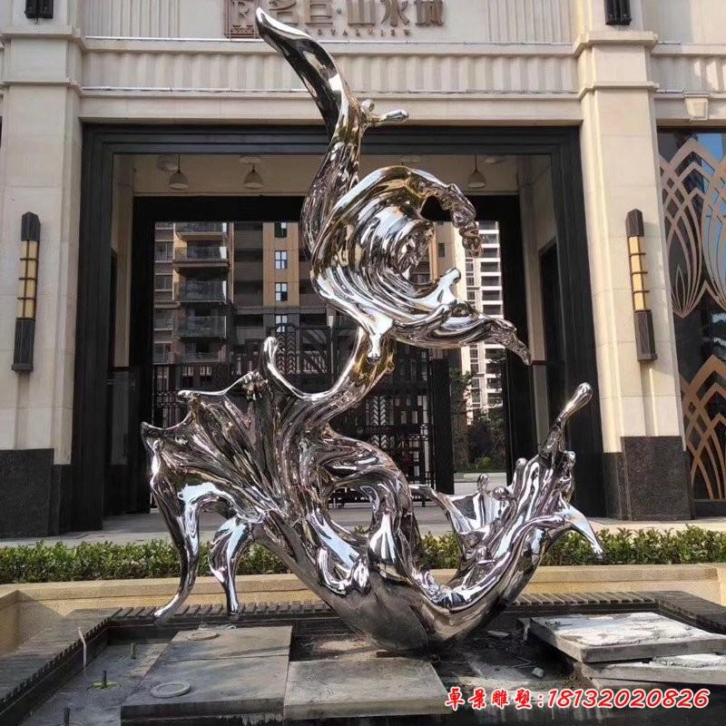 不銹鋼抽象水花浪花雕塑