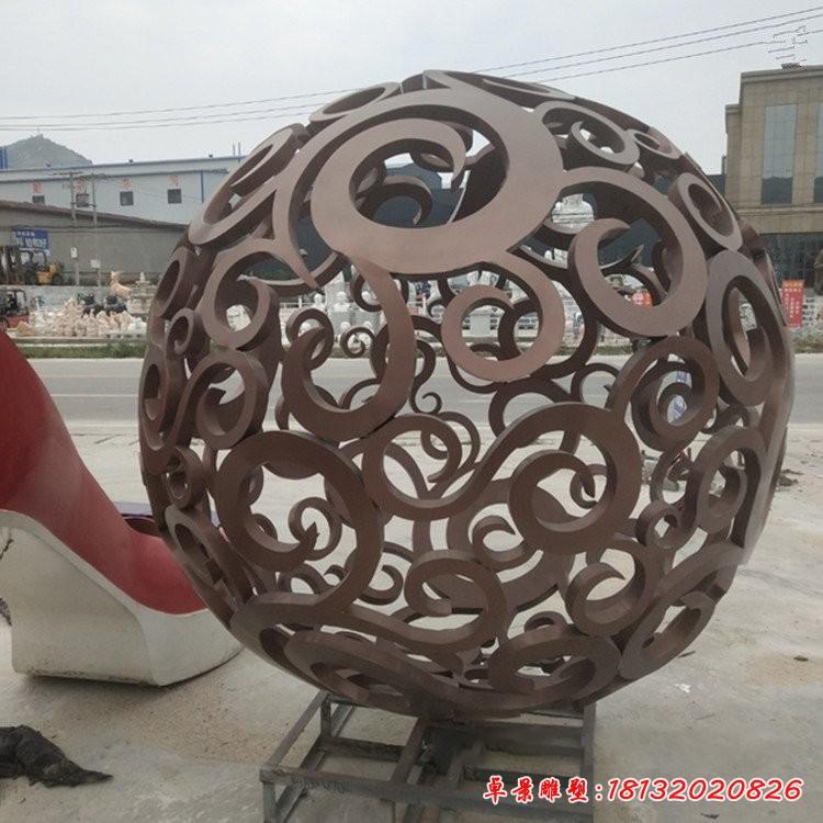 不銹鋼古銅色鏤空球雕塑