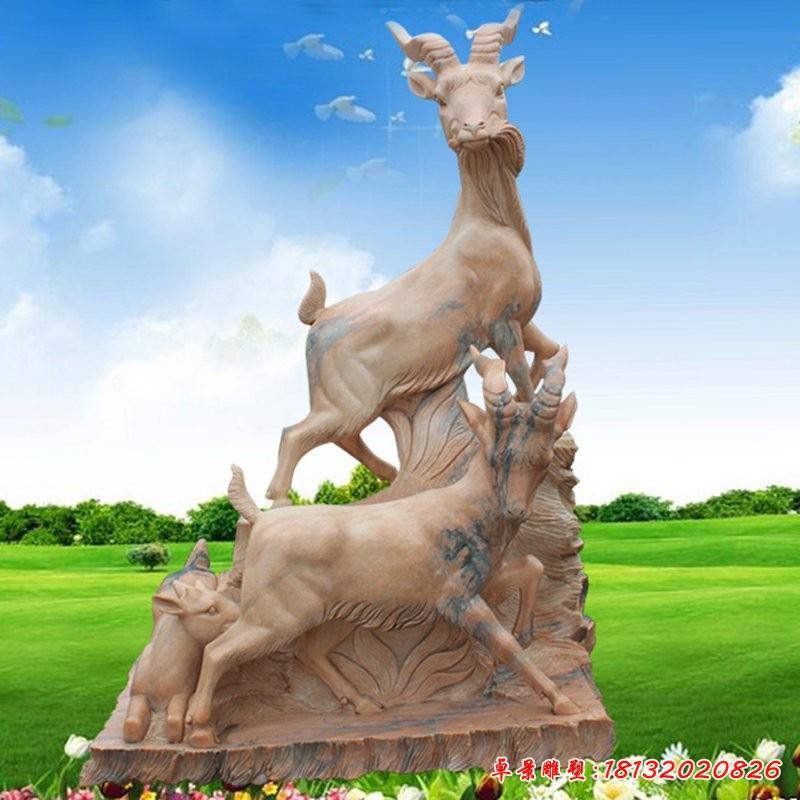 一家三口鹿雕塑